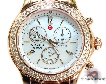 Michele Rose Gold Mother of Pearl Diamond Watch MW17A01B4025 Michele Diamond Watches