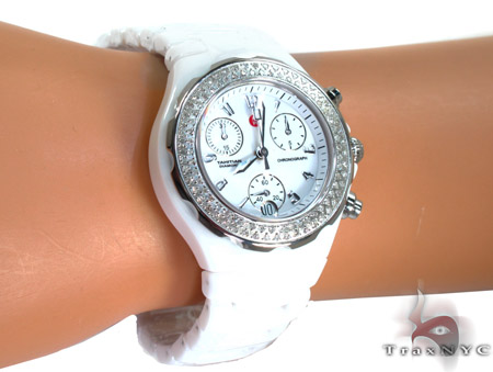 Michele Tahitian Ceramic White Diamond Ladies Watch MWW12A000001 Michele Diamond Watches