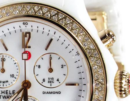 Michele White Ceramic Diamond Gold Watch MWW17B000007 Michele Diamond Watches