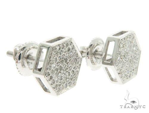 14K White Gold Micro Pave Diamond Earrings 61435 Stone