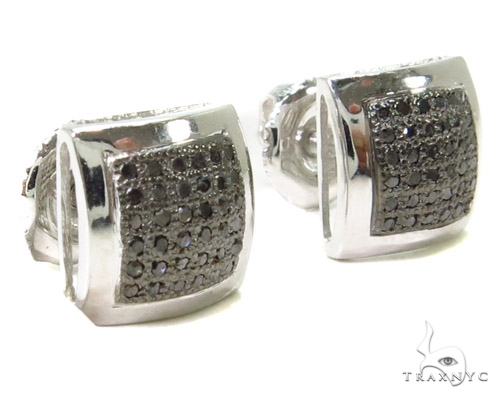 Micro-Pave Black Diamond Earrings 37675 Stone