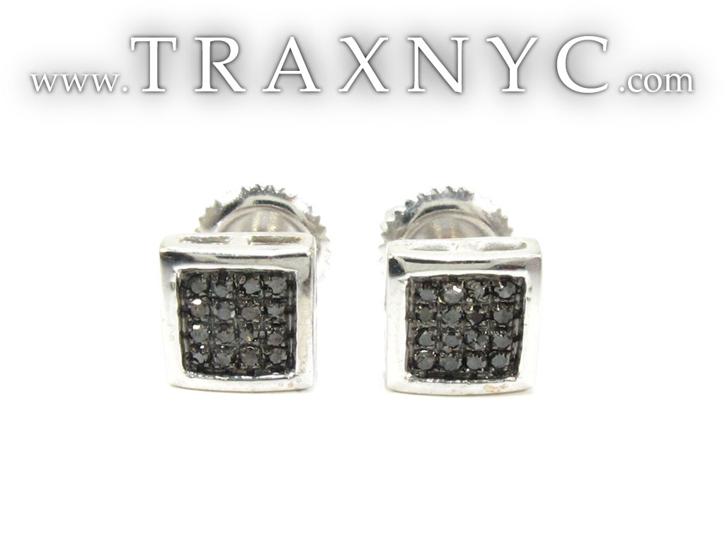 Micro Pave Black Diamond Stud Earrings Mens Diamond Earring White Gold 14k