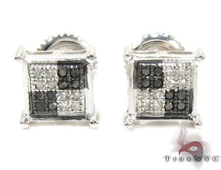 Quad Black and White Diamond Stud Earrings Mens Diamond Earrings