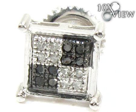 Quad Black and White Diamond Stud Earrings Stone