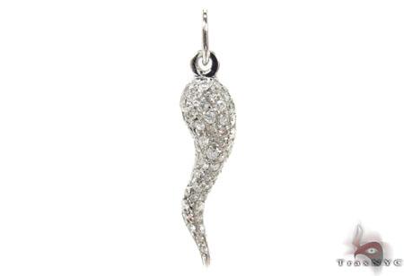 Mini diamond italian horn pendant mens metal white gold 14k aloadofball Choice Image