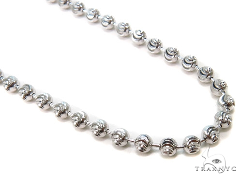 Moon Cut Silver Chain 36 Inches, 3mm, 12.7 Grams Silver