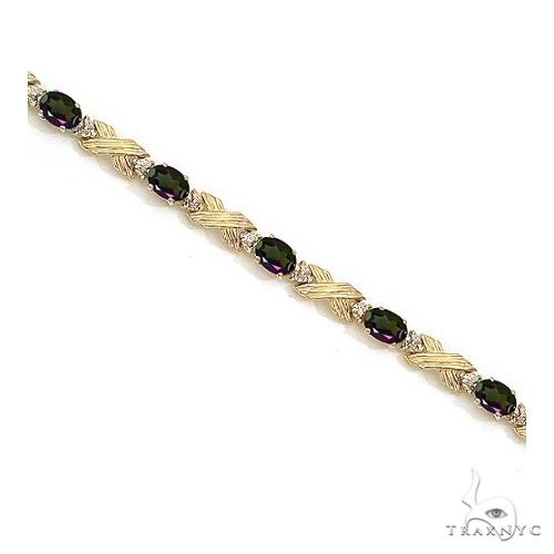Mystic Topaz and Diamond XOXO Link Bracelet 14k Yellow Gold Gemstone & Pearl
