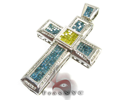 Ocean Blue & Canary Cross Diamond