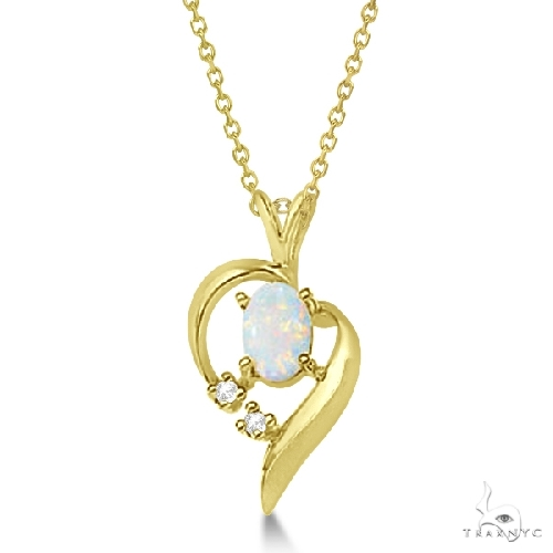 Opal Cabochon and Diamond Heart Pendant in 14k Yellow Gold Gemstone