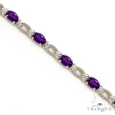 Oval Amethyst and Diamond Link Bracelet 14k White Gold Gemstone & Pearl