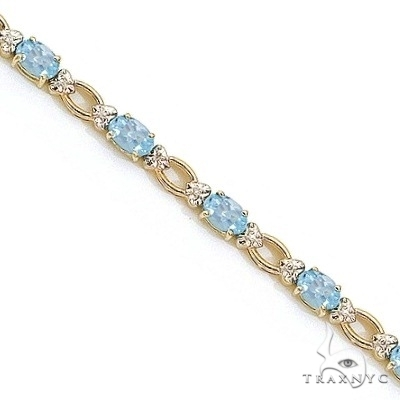 Oval Aquamarine and Diamond Link Bracelet 14k Yellow Gold Gemstone & Pearl