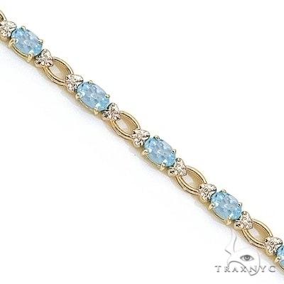 Oval Aquamarine and Diamond Link Bracelet 14k Yellow Gold Gemstone & Pearl
