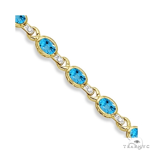 Oval Blue Topaz and Diamond Link Bracelet 14k Yellow Gold Gemstone & Pearl