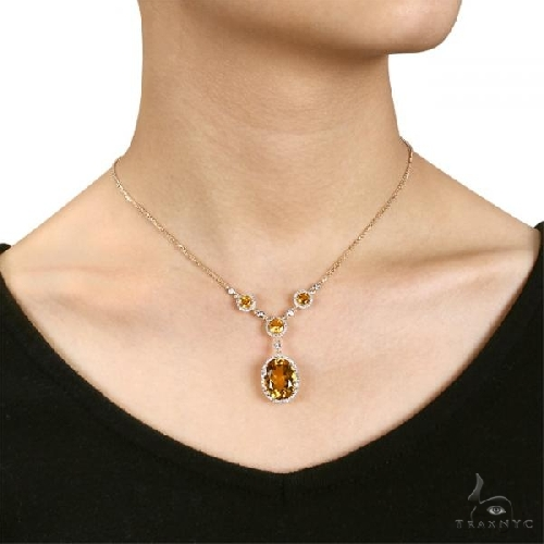 Oval Citrine Halo Diamond Vintage Necklace 14k Yellow Gold Gemstone