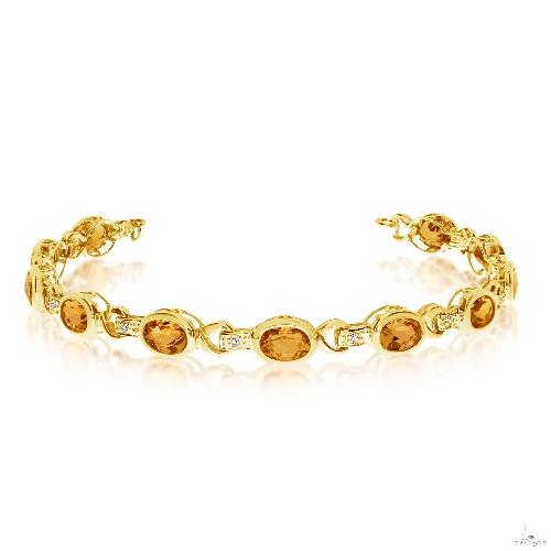 Oval Citrine and Diamond Link Bracelet 14k Yellow Gold Gemstone & Pearl