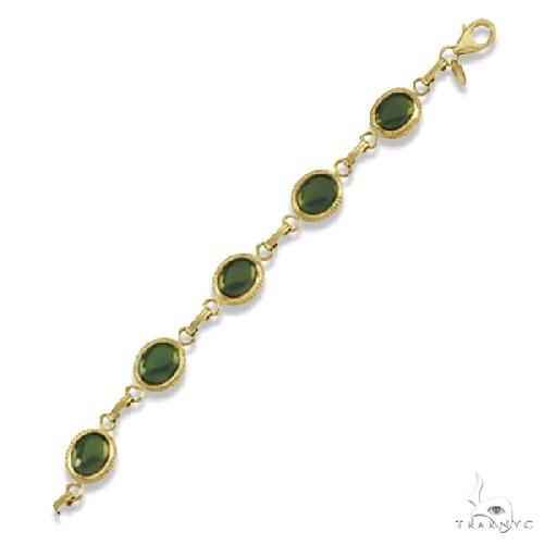 Oval Green Jade Link Bracelet Cabochon Bezel Set 14K Yellow Gold 9.1ct Gemstone & Pearl