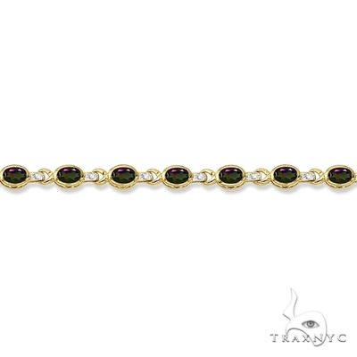 Oval Mystic Topaz and Diamond Link Bracelet 14k Yellow Gold Gemstone & Pearl