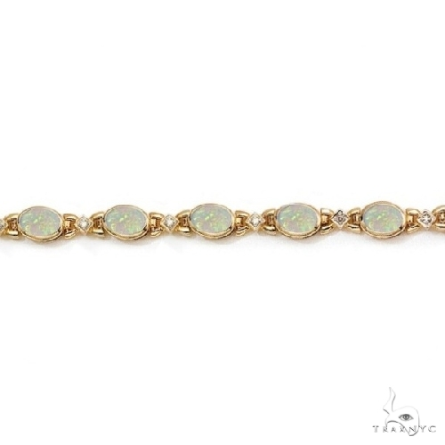Oval Opal and Diamond Bezel Bracelet in 14K Yellow Gold Gemstone & Pearl