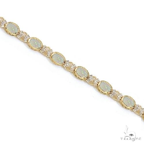 Oval Opal and Diamond Bezel-Set Bracelet in 14K Yellow Gold Gemstone & Pearl