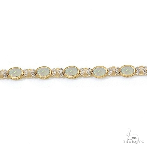 Oval Opal and Diamond Bezel-Set Bracelet in 14K Yellow Gold Gemstone & Pearl