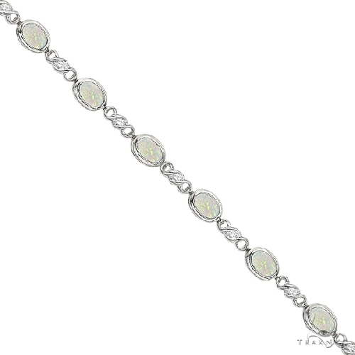 Oval Opal and Diamond Bracelet in 14K White Gold (7x5mm) Gemstone & Pearl