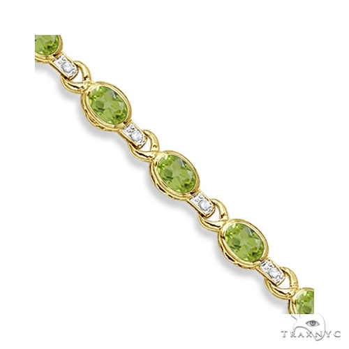 Oval Peridot and Diamond Link Bracelet 14k Yellow Gold Gemstone & Pearl