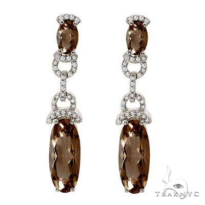 Oval Smoky Topaz and Diamond Dangle Earrings 14k White Gold Stone