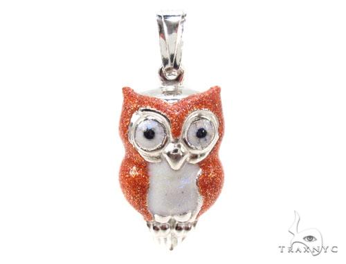 Owls Silver Pendant 36345 Metal