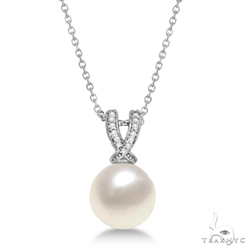 Paspaley Cultured South Sea Pearl and Diamond Pendant 14K White Gold (12mm) Stone