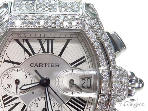 Pave Diamond Cartier Roadster Chronograph Mens Watch W62019X6 40780 Cartier