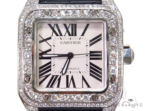 Pave Diamond Cartier Santos 100 Watch 40776 Cartier