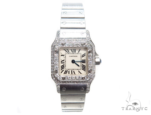 Pave Diamond Cartier Santos Watch 41045 Cartier