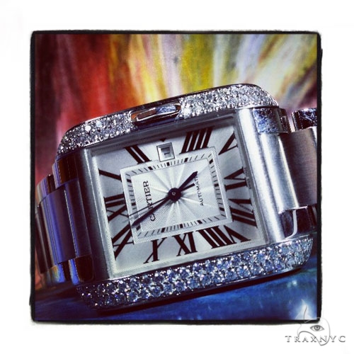 Pave Diamond Cartier Tank Anglaise Medium Ladies Watch W5310009 Cartier