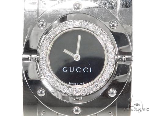 6ae365e683f Pave Diamond Gucci 112 Twirl Bangle Ladies Watch YA112413 44149
