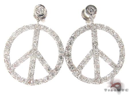 Peace Sign Earrings 21187 Las Diamond Chandelier Earring White Gold 14k