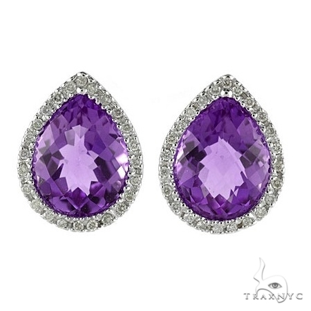 Pear Shaped Amethyst and Diamond Earrings in 14k White Gold Stone