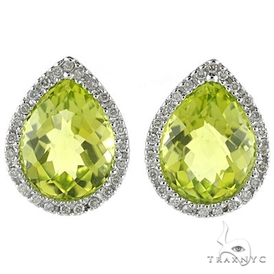 Pear Shaped Peridot and Diamond Earrings in 14k White Gold Stone