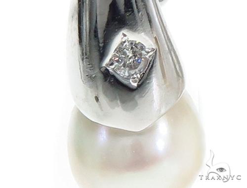 Pearl Diamond Hoop Earrings 40832 Stone