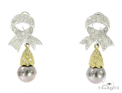 Pearl Ribbon Diamond Hoop Earrings Stone