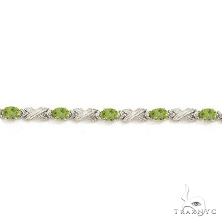 Peridot and Diamond XOXO Link Bracelet in 14k White Gold Gemstone & Pearl