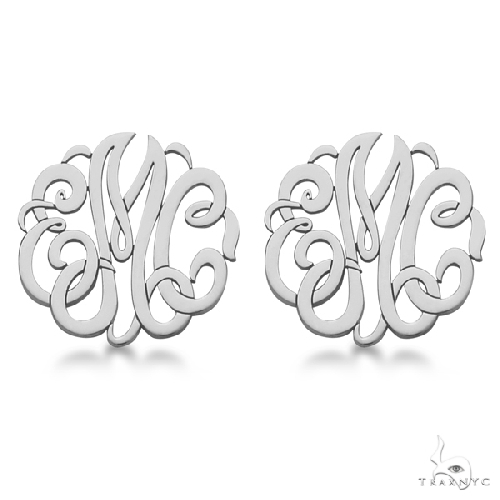Personalized Monogram Post-Back Stud Earrings in 14k White Gold Metal