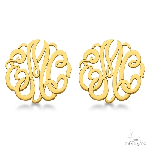 Personalized Monogram Post-Back Stud Earrings in 14k Yellow Gold Metal