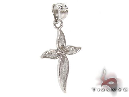 Petals Cross Silver Tiny Pendant Style