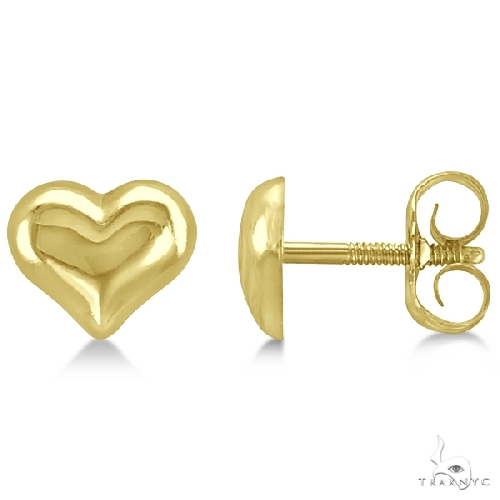Petite Style Puffed Heart Earrings Crafted in 14k Yellow Gold Metal