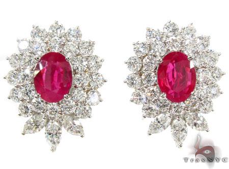 Pigeon Blood Ruby Diamond Earrings Stone