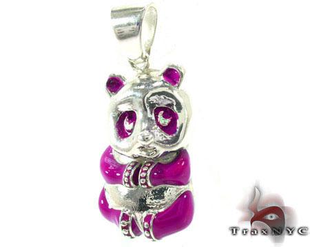 Pink Enamel Panda Pendant Metal