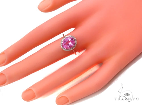 Pink Topaz Diamond Silver Ring 36824 Anniversary/Fashion