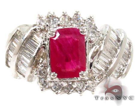Pink Ruby Emerald-cut Diamond Ring 29234 Anniversary/Fashion