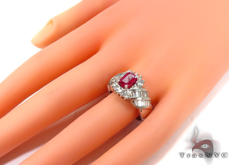 Pink Ruby Emerald-cut Diamond Ring 29234 Anniversary/Fashion
