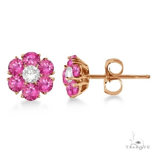 Pink Sapphire and Diamond Flower Cluster Earrings 14K R. Gold Stone